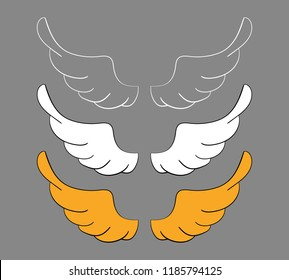 Set cartoon wings, sketch. Vector design elements isolated on dark background.