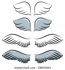 set of cartoon wings. Two pair. Contour and painted