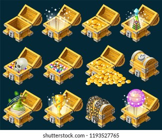 Set cartoon wooden isometric chests decorated silver with golden trophies, elixirs, potions, skull, money, coins and gems for computer game. Vector illustration on dark background.