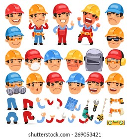 Set of Cartoon Worker Character for Your Design or Animation. Isolated on White Background.