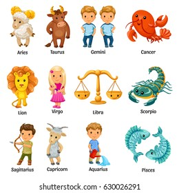 Set with cartoon zodiac signs.