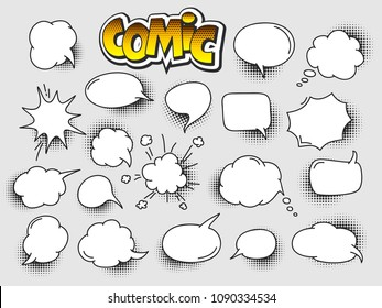 Set of Cartoon,Comic Speech Bubbles, Empty Dialog Clouds with Halftone Dot Background in Pop Art Style. Vector Illustration for Comics Book , Social Media Banners, Promotional Material