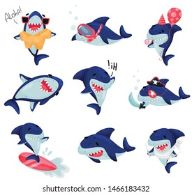 Set of cartoonized humanized sharks. Vector illustration on white background.