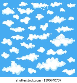 Set of cartoons clouds in different shapes isolated on blue background. Vector illustration in flat design.