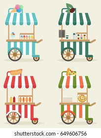 A set of carts with fast food. Street food trade. Coffee, hot dog, pizza, ice cream. In flat style, cartoon.