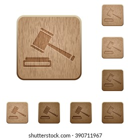 Set of carved wooden auction buttons in 8 variations.