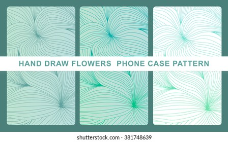 Set of case background. Hand draw flowers