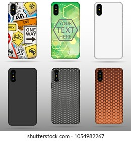 Set case for Iphone X vector illustration