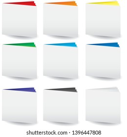 Set of cases study icon with colored pages