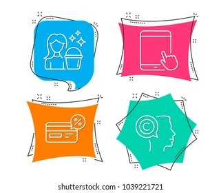 Set of Cashback, Tablet pc and Cleaning icons. Writer sign. Non-cash payment, Touchscreen gadget, Maid service. Copyrighter.  Flat geometric colored tags. Vivid banners. Trendy graphic design. Vector