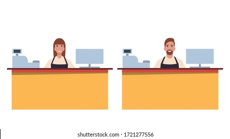 A set of cashiers / shop assistants or cafe / diner workers. Working staff. Flat style. Vector illustration.