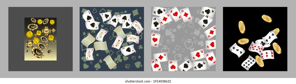 Set of casino banners. Casino game cards are falling. Dice rain. Template for advertising parties, events in Vegas. Vector illustration