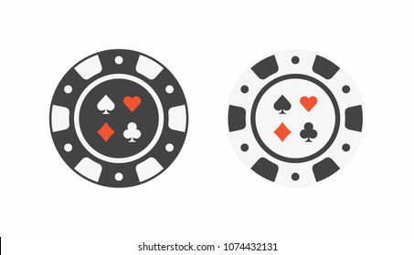 Set of casino chips. top view
