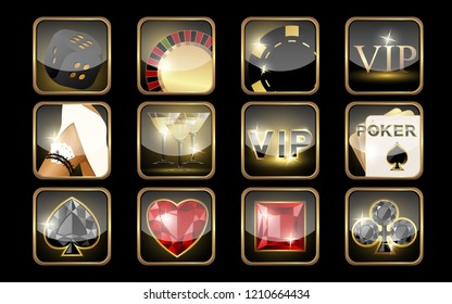 Set of casino icons.