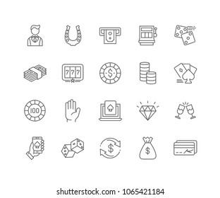 Set von Casino-Skizzen, einzeln auf weißem Hintergrund.