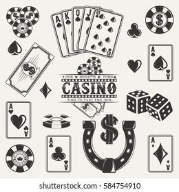 Set of casino, poker and dice elements for vintage logo design, monochrome icons isolated on white background, vector