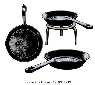 Set of cast iron frying pans. Vector vintage illustration of kitchen utensils. Clipart.