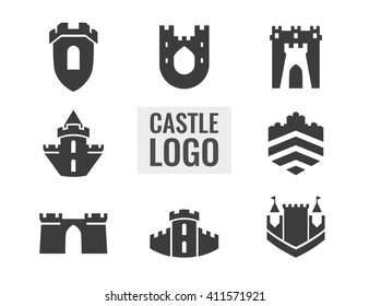 Set of castle, fortress vector logo. Logo for your business.