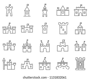 Set of castle Related Vector Line Icons. Includes such Icons as palace, building, fortress and more.