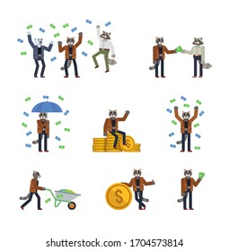 Set of cat characters posing with money. Cheerful cat standing with umbrella under money rain, sitting on big stack of coins and showing other actions. Flat design vector illustration