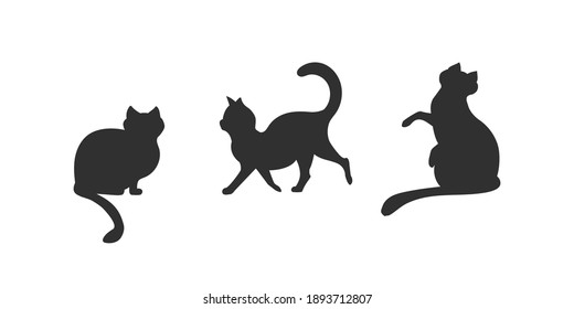 Set of cat icons. 3 black cat silhouttes isolated on white background. Cartoon cats silhouettes. Vector illustration