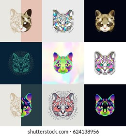 Set of cat logos. Abstract design thin line icons, patches, badges, labels and stickers. Vector illustration.