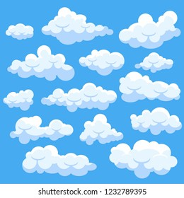 Set of catoon clouds isolated on blue sky