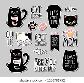 Set of cats badges, patches, stickers. Vector doodle illustration EPS10