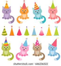 Set of cats and colorful Birthday hats