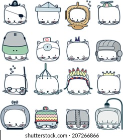 Set of cats in the different headdresses signifiers their professions