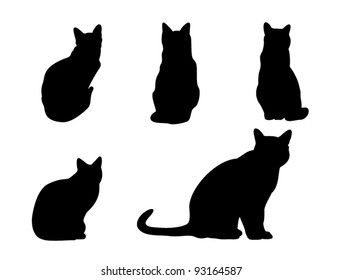 Set of cats silhouette