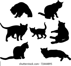Set of cats silhouettes  in different poses