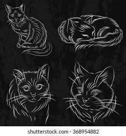 Set of cats in a sketch style.