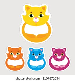 set of cats stickers. colorful hand draw comic cats. can cut it on the dotted line and paste it right places. for notifications notebook block sketchpad sketchbook patch. Vector isolated illustration.