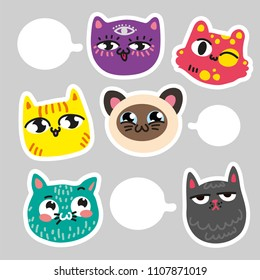 set of cats stickers for notes. Communication cat stickers. Six colorful cats emotions where you can put messages. Hand draw type for notes, notebook, sketchpad, block, writing pad, stickers, patch