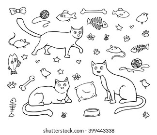Set of cats and various cat related items, mice, fish, birds, black and white, hand drawn, isolated on white, vector illustration