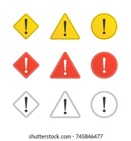 Set of caution icons in flat style. Caution signs different forms isolated on white background. Exclamation marks icon. Collection of Warning attention sign. Vector illustration EPS 10.