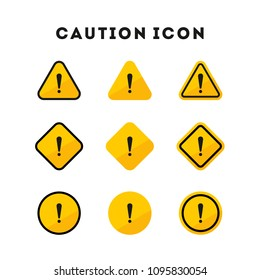 Set of caution icons. Caution sign. Vector illustration