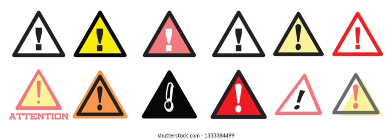 Set of caution sign vector