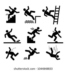 Set of caution symbols with stick figure man falling. Falling down the stairs and over the edge. Wet floor, tripping on stairs. Workplace safety. Vector illustration. Isolated on white background