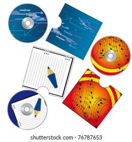A set of CDs with covers. Vector illustration