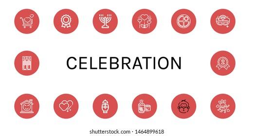 Set of celebration icons such as Love, Medal, Menorah, Heart, Pancake, Carnival mask, Smile, Cocktail, Sticky rice, Monkey, Silver medal , celebration