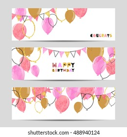 Set of celebration party banners with pink and golden balloons. Vector illustration