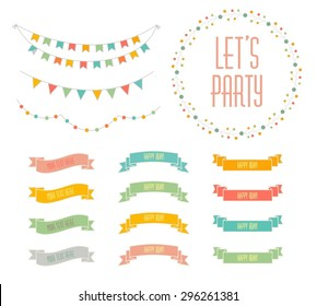Set of celebration retro ribbons and labels. Vector illustration.  Save the date. birthday card.