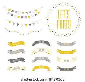 Set of celebration retro ribbons and labels. Vector illustration. Save the date. birthday card. new collection, retro yellow gray and black. Ribbon. Ribbon. Ribbon.Ribbon. Ribbon. Ribbon. Ribbon.