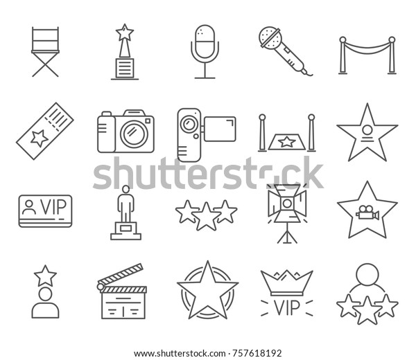 Set of celebrity Related Vector Line Icons. Includes such Icons as famous people, paparazzi, photography, hollywood, VIP, movie stars,  and etc.