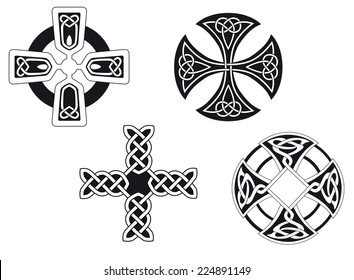 Set of celtic crosses for religion or another design