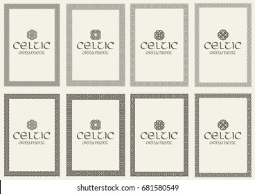 Set of celtic knot braided frames bordesr ornaments. A4 size. Vector illustration.