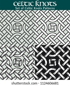Set of Celtic Knots Patterns. 4 different versions of a seamless pattern with Celtic knots: with white filling, without filling, with shadows and with a black background.