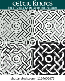 Set of Celtic Knots Seamless Patterns. 4 different versions of a seamless pattern with Celtic knots: with white filling, without filling, with shadows and with a black background.